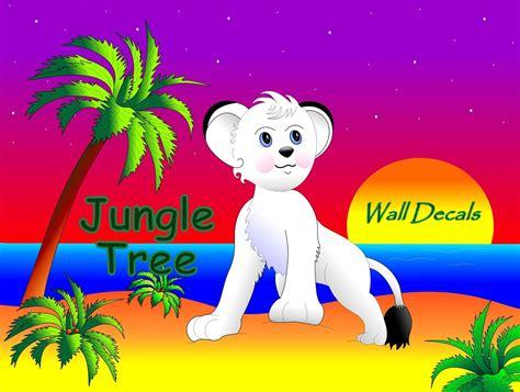 film cartoon zoo jungle tree wall decals in vinyl and fabric creative fun