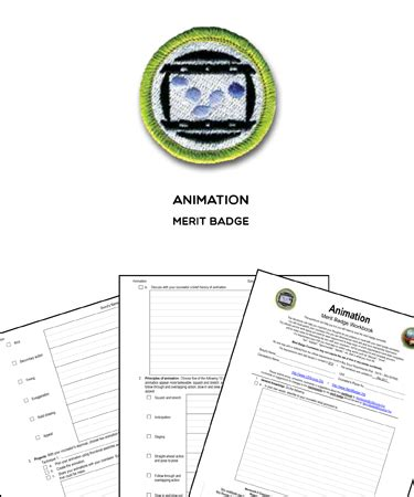 animation merit badge worksheet requirements