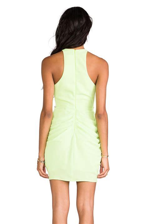 draped mini dress shona joy draped mini dress in green lyst