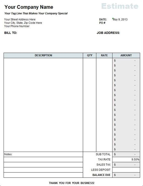 contractor estimate templates download free premium