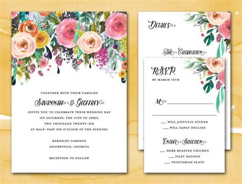 printable wedding invitations floral diy printable wedding invitation suite pdf wedding suite