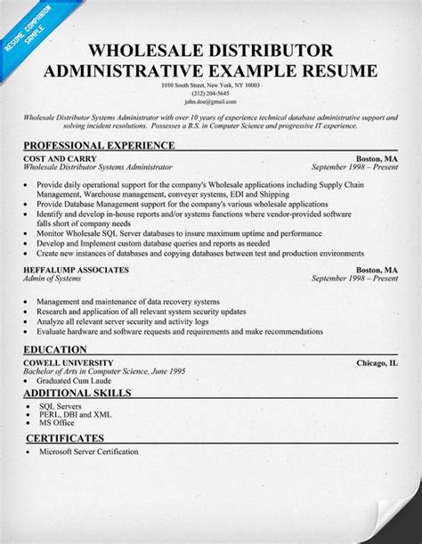 Wholesaler Resume by Wholesale Distributor Administrative Assistant Free Resume Help Resumecompanion Resume