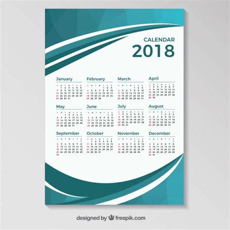 Calendar 2018 Template Vector 2018 Calendar Template With Blue Wavy Shapes Vector Free