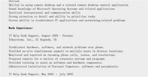it help desk resume summary resume sles it help desk support resume sle