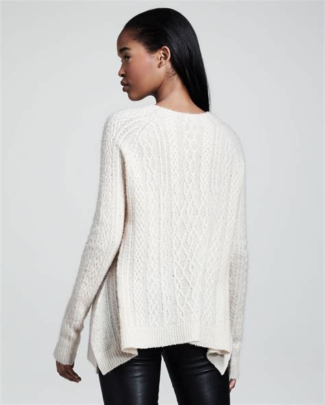 swing sweater the row cableknit swing sweater in white lyst