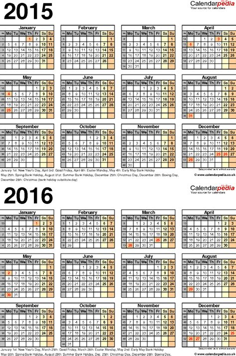 weekly calendar 2016 template for pdf version 1 portrait