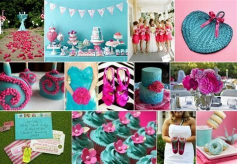 Wedding colour scheme teal green blue fuschia hot pink