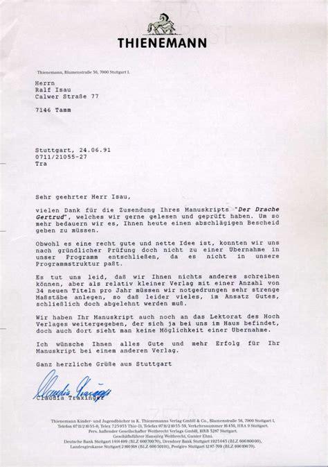Angebot Absage Brief Ralf Isau Der Drache Gertrud