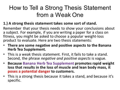 thesis statement the thesis statement notes ppt