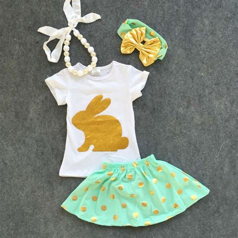 Set Gold Bunny Size 6 2016 new baby ester day gold bunny sleeves sets easter dress set summer