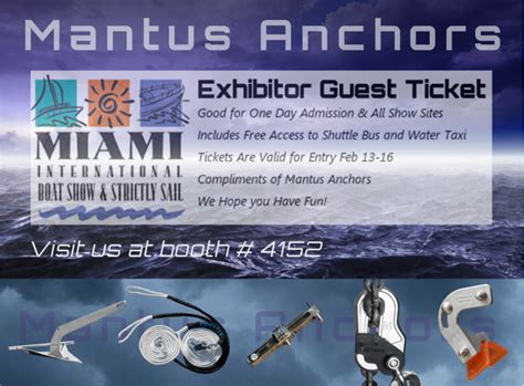 boat show tickets mantus anchors give away miami boat show mantus marine