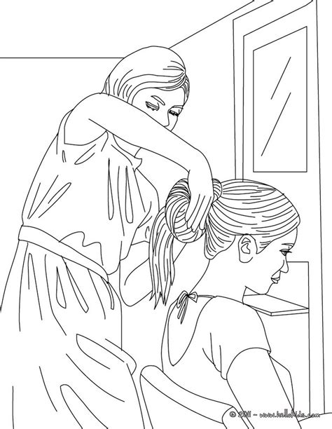 coloring pages hair girl having her hair done by a hairdresser coloring pages