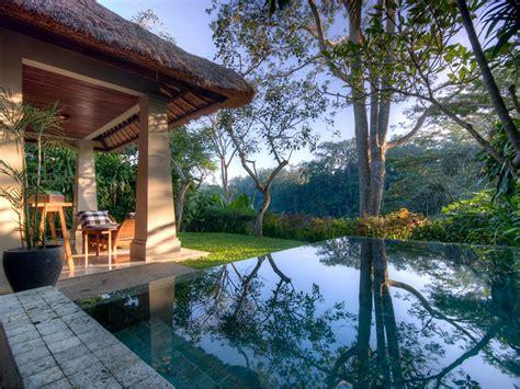 honeymoon cottages ubud hanging infinity pools in bali at ubud hotel resort