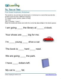 vocabulary study this simple one grade 1 vocabulary worksheet quot to two quot school ideas