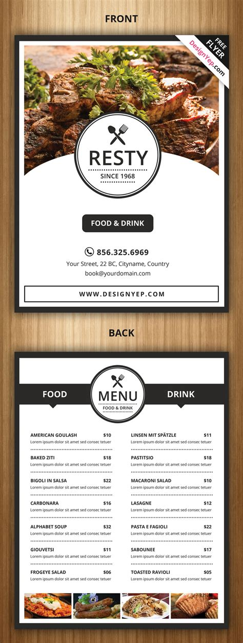 21 free food menu templates for restaurants designyep