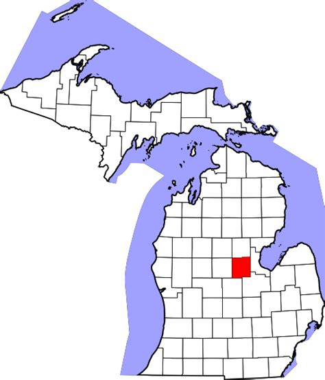 Midland County Records File Map Of Michigan Highlighting Midland County Svg