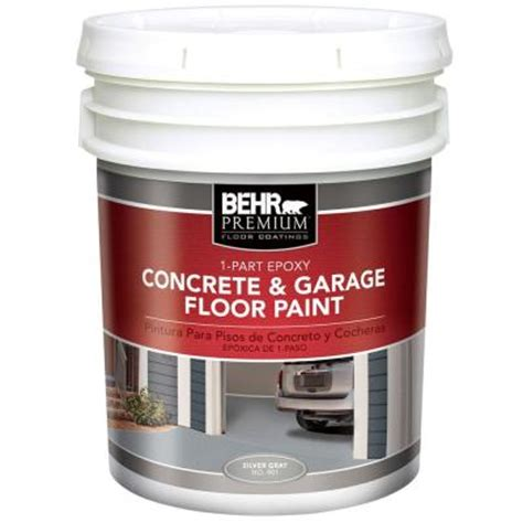 behr 5 gal silver gray satin epoxy acrylic latex 1 part concrete and garage floor paint