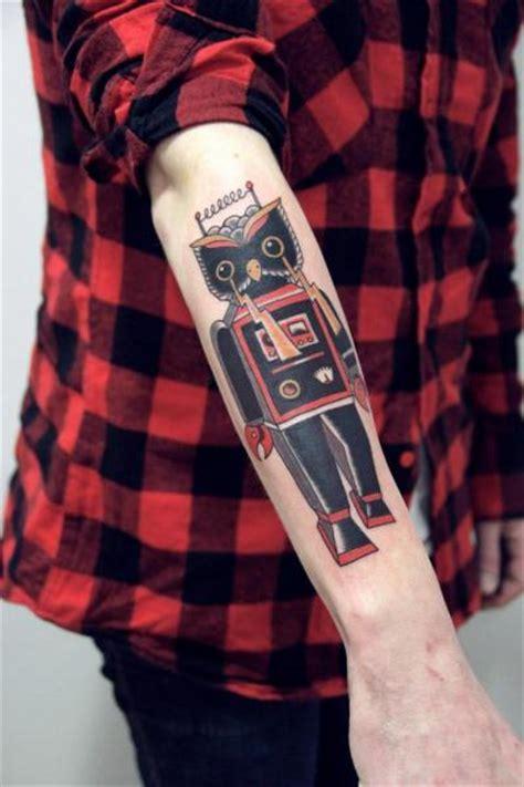 new school robot tattoo arm old school owl robot tattoo by la dolores tattoo