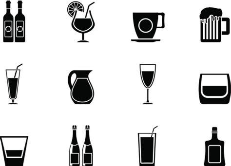 silhouette different kind of drink icons vector art