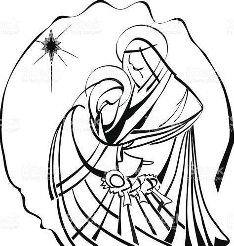 clipart presepe nativity line work illustration baby jesus joseph
