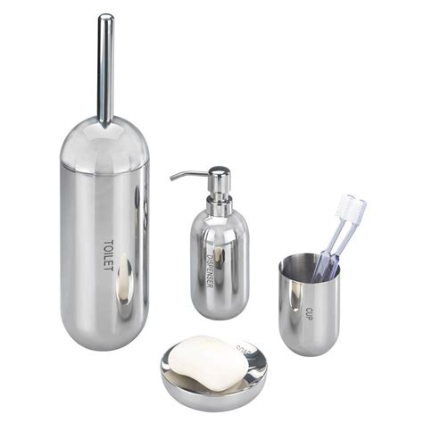 Stainless Steel Bathroom Accessories Wenko Riva Shiny Bathroom Accessories Set Stainless Steel At Plumbing Uk