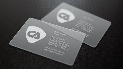Visitenkarten Transparent by Visitenkarten Drucken Und Gestalten Lassen Comartist