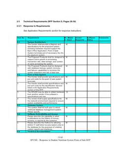 rfp requirements template sns pos system rfp response template