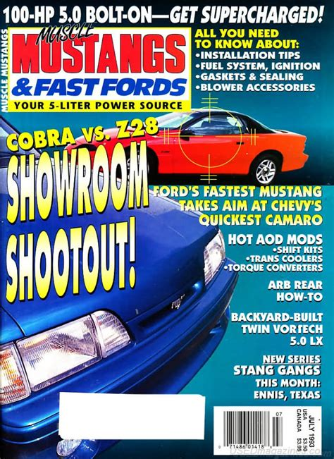 mustangs and fast fords back issues backissues mustangs fast fords july 1993