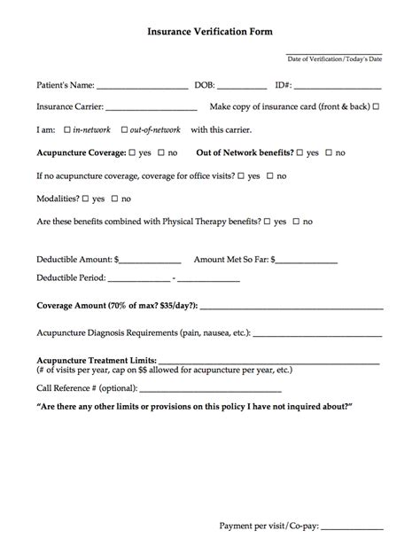 insurance verification form template customizable forms for your practice for acupuncturists