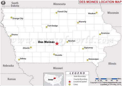map of des moines where is des moines iowa