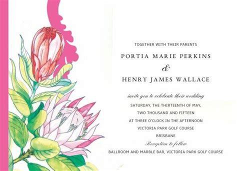 invitation design brisbane perfectly proteas wedding invitation design by brisbane s
