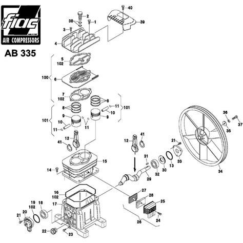 fiac spare parts for piston air compressor pumps ab 335