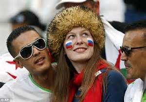 World cup spirit russian and algerian fans mingle in the crowd ahead