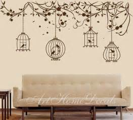 Bird Cage Wall Stickers Items Similar To Nature Wall Decal Birds Wall Decal Branch