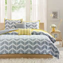 Lemon Duvet Cover Yellow And Gray Chevron Bedding