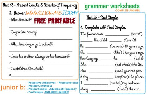 printable english worksheets grammar worksheet printable grammar worksheets hunterhq free