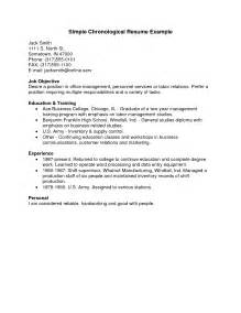 Simple Exle Resume by Best Photos Of Basic Chronological Resume Templates Simple Basic Resume Template Basic
