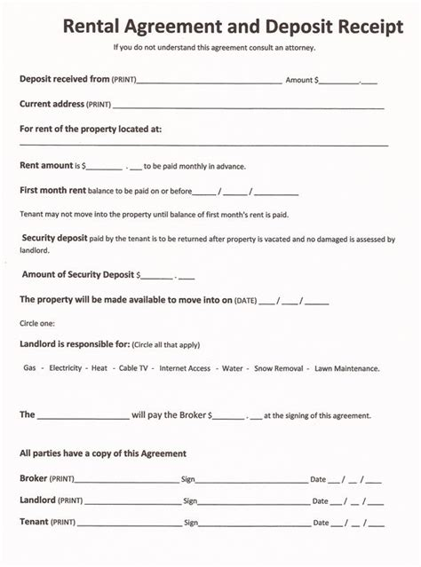 Sle Agreement Letter Between Landlord Tenant Printable Sle Free Printable Rental Agreements Form Real Estate Forms Free