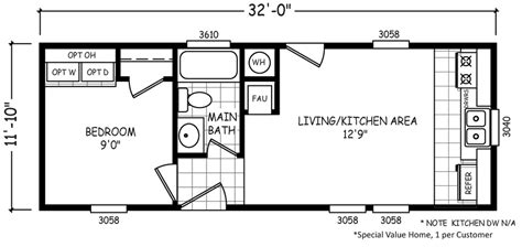 micro mobile home plans micro 12 x 32 379 sqft mobile home factory select homes