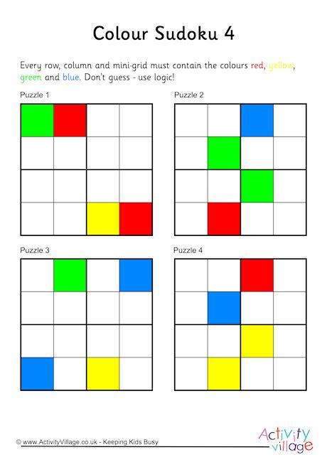 color sudoku colour sudoku 4x4 puzzles 4