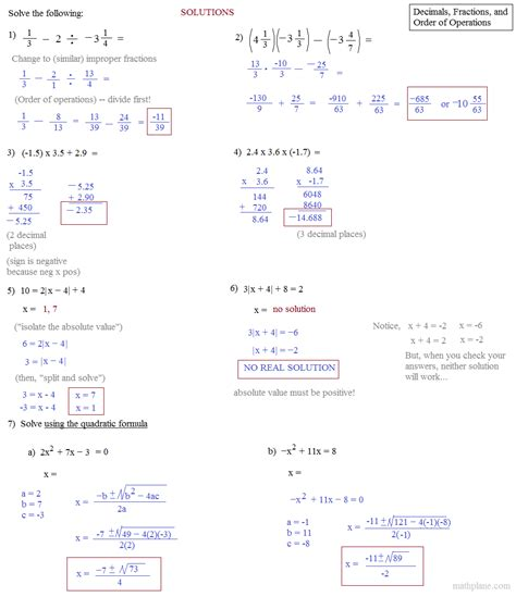printable quiz on order of operations order of operations with fractions worksheets free math