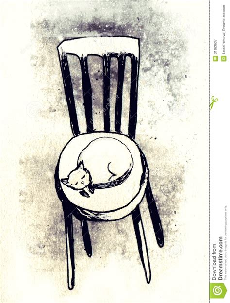 cat on chair drawing royalty free stock photography image 31063637