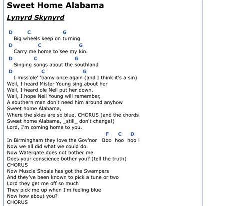 chords sweet home alabama alabama