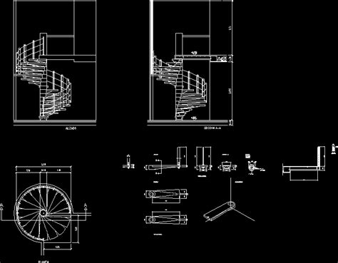 Spiral Staircase Elevation Cad Drawing