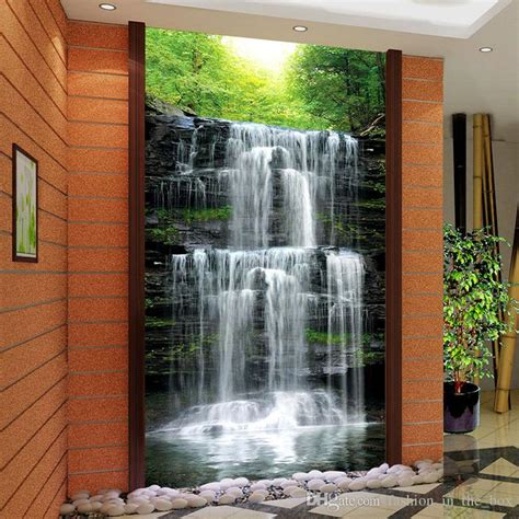 wallpaper for real walls custom 3d landscape wallpaper for walls 3d waterfall photo