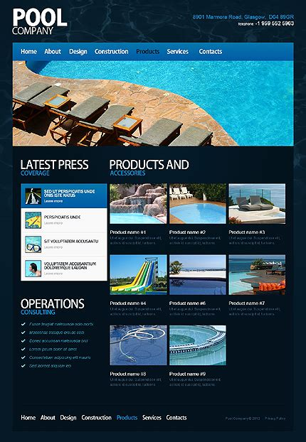 Swimming Pool Responsive Website Template Design Swimming Pool Website Templates Free