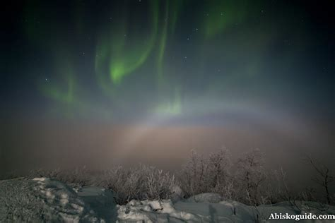 Bow Curtains Lunar Fogbow In The Arctic Circle And Light Pillars In
