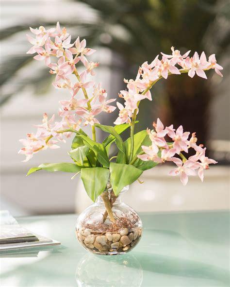 lifelike orchid accent silk flower arrangement at petals