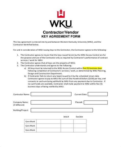 Sle Contractor Agreement Form 9 Free Documents In Word Pdf Key Agreement Template