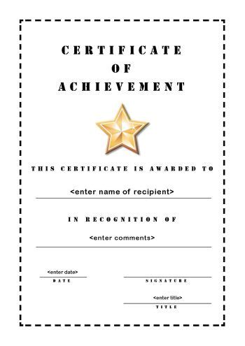 blank certificate of achievement template 10 certificates of achievement certificate templates